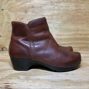 Dansko Women's Booties Side Zip Brown Leather